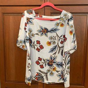 Loft square neck floral blouse